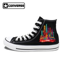 Original Design Converse Canvas Shoes Shanghai Guangzhou Beijing Hongkong Landmarks of China Cities Chuck Taylors Sneakers