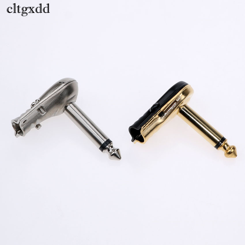 Cltgxdd 90Degree Right Angle 6.35 Mm Mono 2 Pole Audio Jack Plug 6.35mm Guitar Phono Pancake 1/4 Inch Connector
