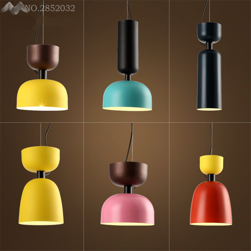 America Modern colorful pendant lamp iron pendant light hanging lamps for Living Room bedroom bar Lighting fixture decorationAmerica Modern colorful pendant lamp iron pendant light hanging lamps for Living Room bedroom bar Lighting fixture decoration