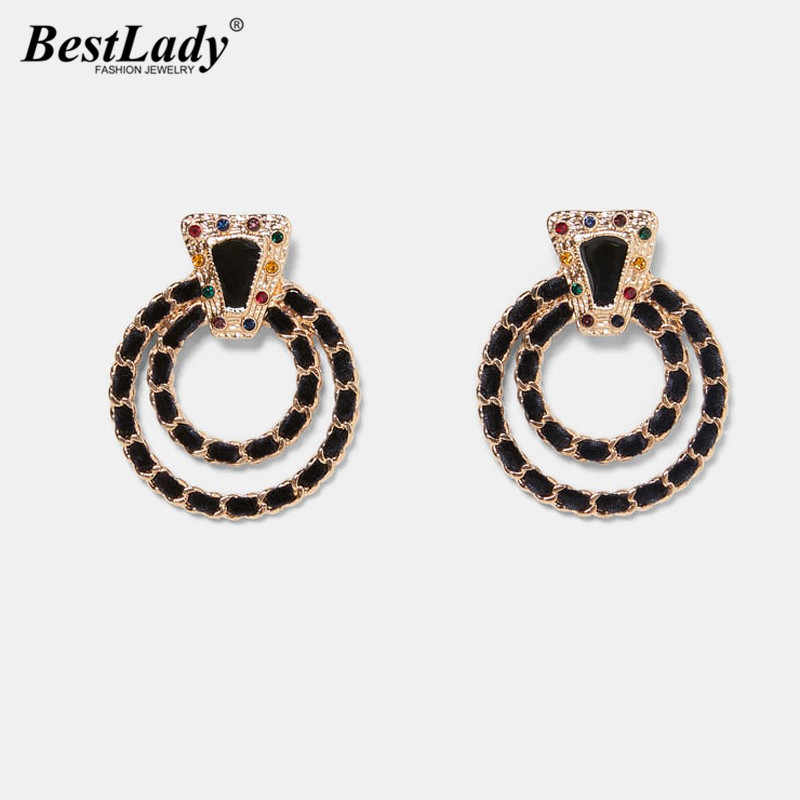 Best lady ZA Fashion Multicolored Stud Earrings For Women Bohemian Wedding Party Metal Trendy Shiny Christmas Gift Hot Sale