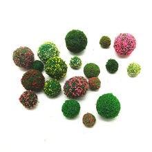 Bola de miniatura de plantas artificiais 5 peças, enfeites de decoração artesanal para casa de bonecas, miniatura, acessórios de decoração diy