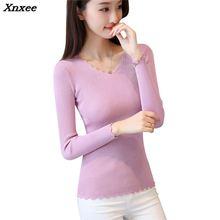 In autumn 26 V collar ladies sweater shirt stretch slim Korean female Xnxee цены