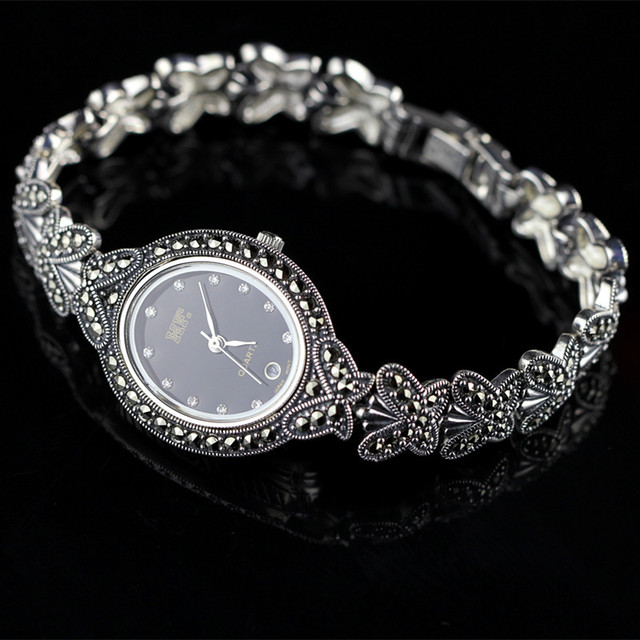 New Limited Edition Classic Butterfly 925 Silver Pure Thai Silver Bracelet Watches Thailand Process Rhinestone Bangle Dresswatch