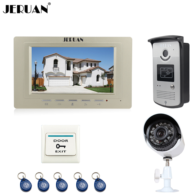 JERUAN NEW 7 inch LCD Video intercom Door Phone System 1 Gold Monitor + RFID Access IR Camera + 700TVL Analog Camera In Stock jeruan home 7 video door phone intercom system kit 1 white monitor metal 700tvl ir pinhole camera rfid access control in stock