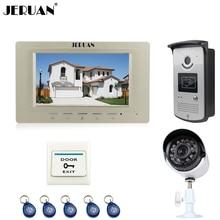 JERUAN NEW 7 inch LCD Video intercom Door Phone System 1 Gold Monitor + RFID Access IR Camera + 700TVL Analog Camera In Stock