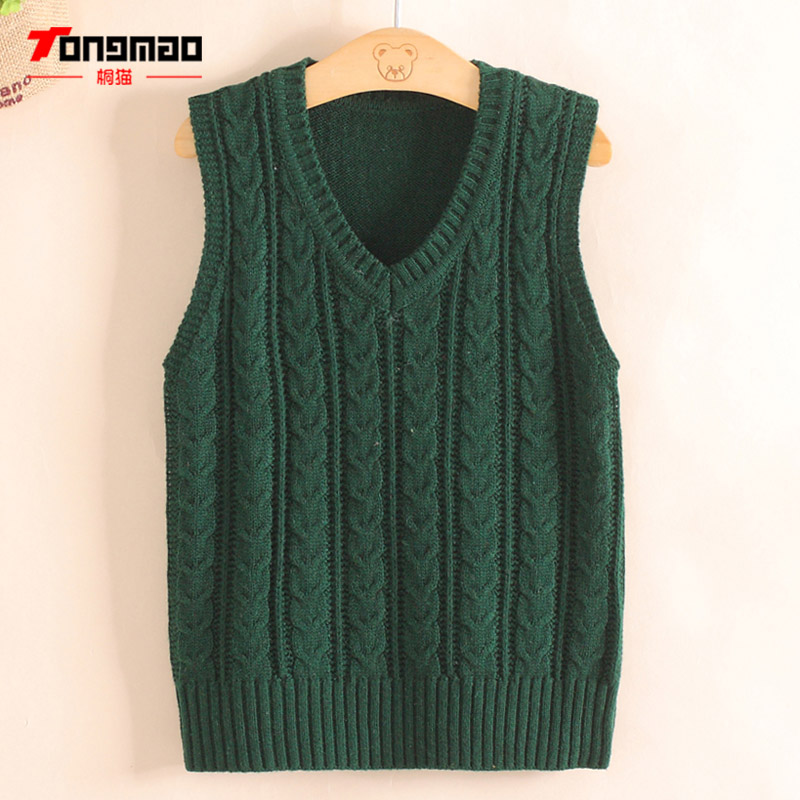 Children Boys Sweater Autumn Winter Warm Cashmere Wool Solid Color Baby Boys Pullover Knitwear Striped V-Neck Vest Kids Clothing купить в Москве 2019