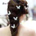 Wedding Hair Sticks 6PCS/Lot Rhinestone Handmade Butterfly Hairwear Wedding Hair Accessories Bridal Hair Jewelry