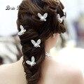 Wedding Hair Sticks 6PCS/Lot Rhinestone Handmade Butterfly Hairwear Wedding Hair Accessories Bridal Hair Jewelry
