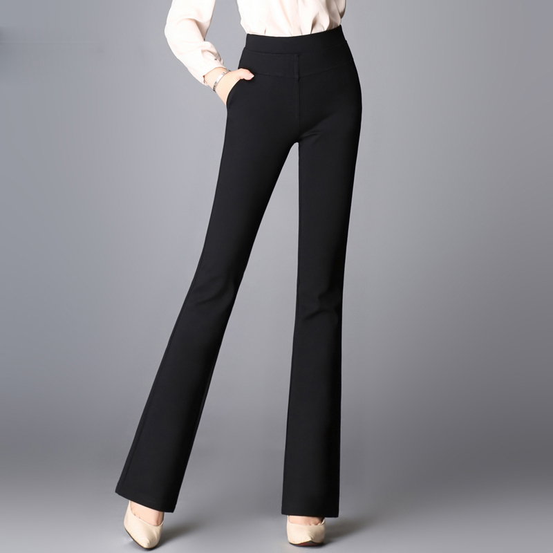 2017 Printemps été nouvelle taille haute Droite Flare pantalon pour femmes  bureau OL style vêtements de travail pantalon femelle cru pantalon AE27 14840ed5a5ce