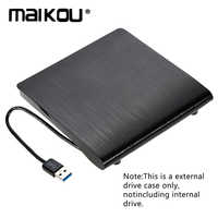 Maikou 9.5mm DVD/CD-ROM RW Case DVD Player Drive Enclosure USB 3.0 SATA External Portable DVD Enclosure for Macbook PC Laptop