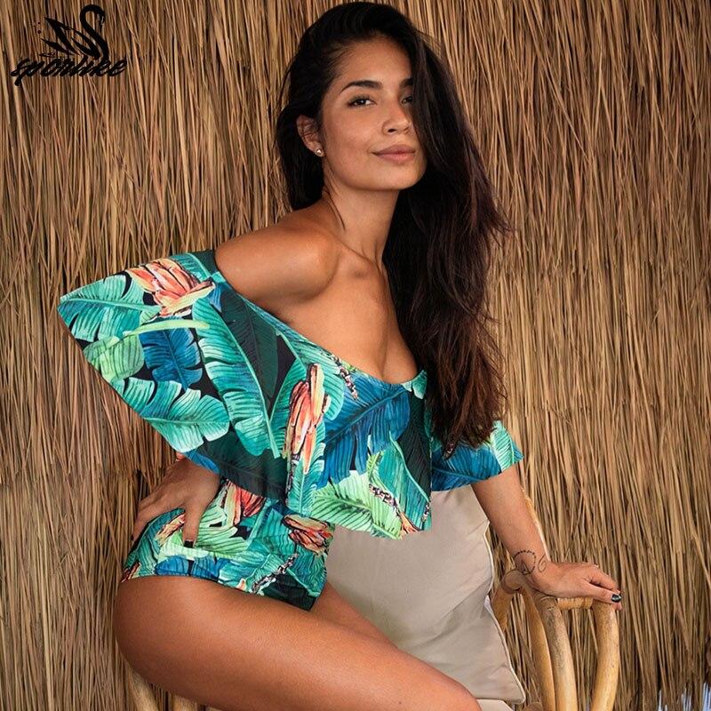 SPORLIKE 2018 Sexy de una sola pieza traje de baño de mujer fundido de baño sin respaldo blanco brasileño traje de baño puede bañista Monokini XL