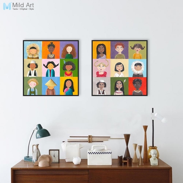 Modern World Children Print Poster Color Chinese India Africa Kids Wall Art  Picture Baby Room Decor