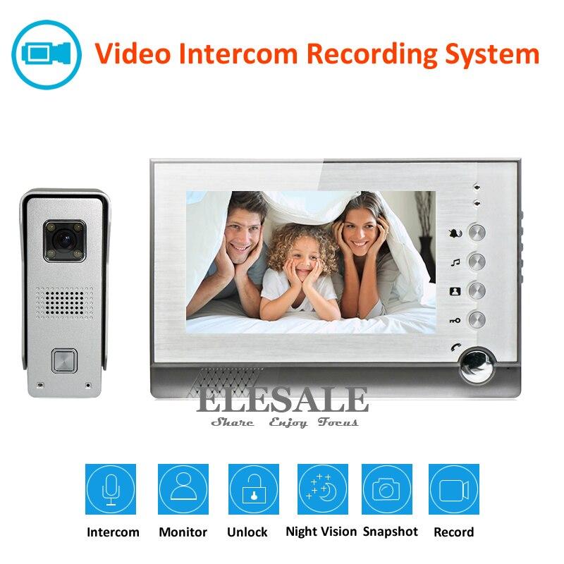 7 vidéo Interphone Vidéo Porte Téléphone Sonnette Système 700TVL Caméra Night Vision Enregistrement Photo, Prenant Appui Max 32g