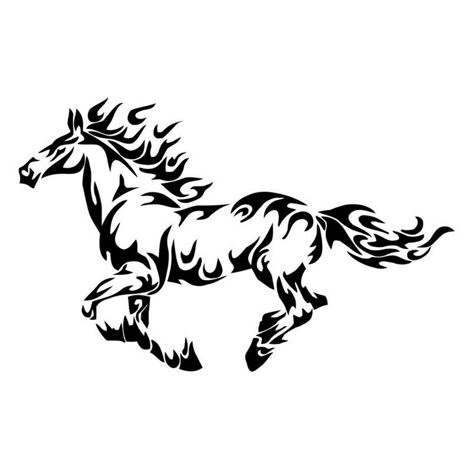 Fire Flame Horse Cool Car Stickers Styling Sticker Personality Car Body Decal LaserBlackSilver (3)