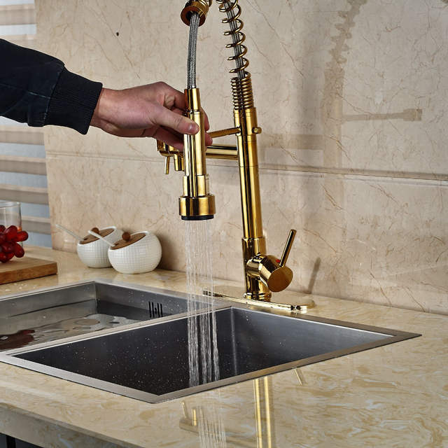 Online Shop Modern Gold Kitchen Faucet Dual Spouts Spring Sink Mixer