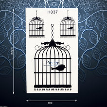 Unique Waterproof Decals Temporary Tattoo Sticker Black Bird Birdcage Tattoo For Men Women Makeup Fake Arm Tattoo Stickers PH037(China)