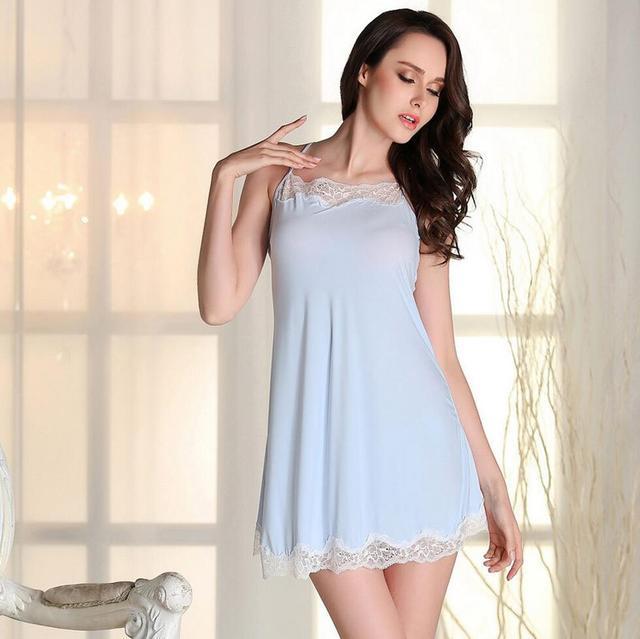 8b6e381f8a 2017 Salón Del Sueño de Encaje Camisones Mujeres Vestido de Casa Camisón de  Seda Tentación Sexy