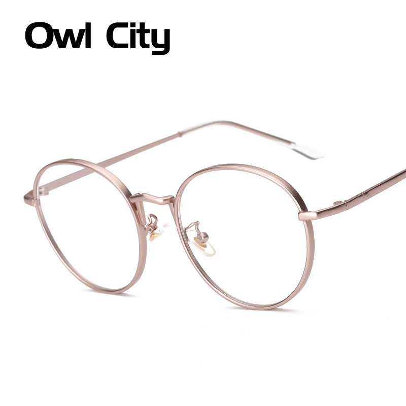 Kvinnor Eyeglasses Brand Designer Oval Rose Alloy Frame Skriv ut Kvinnor Optisk Clear Len Glasögon Unisex Eyeglasses Frames For Man