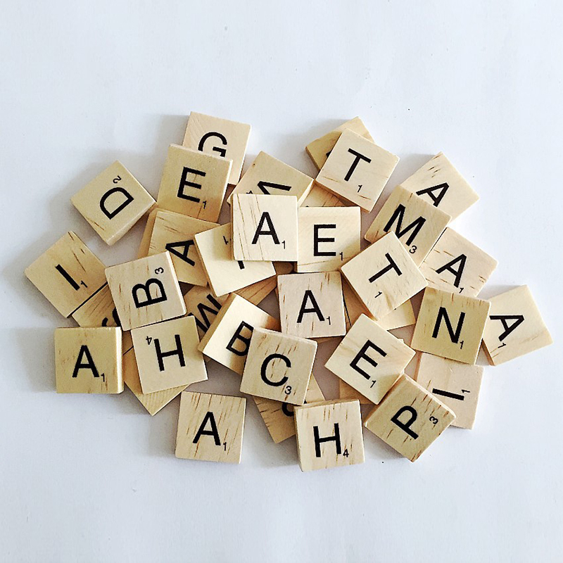 100Pcs/set Creative Wooden English Words Letters Alphabet Tiles Black Scrabble Letters & Numbers For Wood Crafts