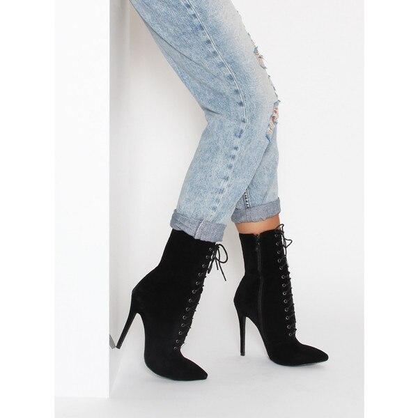 Altos Up Stilettos Tacones Botines Chaussure Zapatos Corto Sexy Lttl Punta Femmes Lace Mujeres Ankle Botas Suede Estrecha Negro Boots WXaaq8Y0w