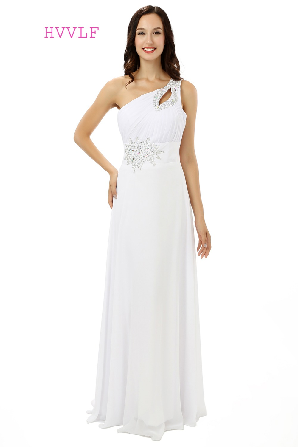 Online get cheap cheap white bridesmaid dresses aliexpress white 2017 cheap bridesmaid dresses under 50 a line one shoulder floor length chiffon ombrellifo Choice Image