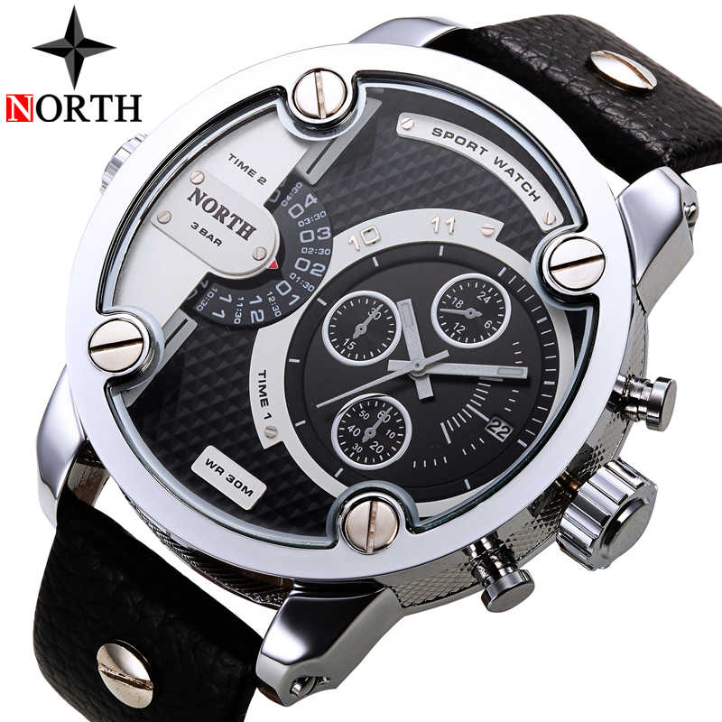 NORTH Mens Watches Top Brand Luxury Sport Quartz Watch Men Date Display  Leather Strap Casual Military Watches Relogio Masculino