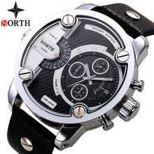 צפון Mens שעונים למעלה מותג יוקרה ספורט קוורץ שעון גברים תצוגת תאריך רצועת עור מזדמן צבאי שעונים Relogio Masculino