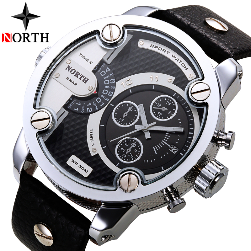 NORTH Mens Watches Top Brand Luxury Sport Quartz Watch Men Date Display Leather Strap Casual Military Watches Relogio Masculino image