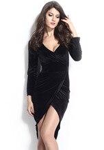 Hanım giyim seksi Gece Kulübü Güz kış yıldız loves Uzun kollu derin V Yaka Parti Siyah Kadife Düzmece Wrap Bodycon Elbise 21669