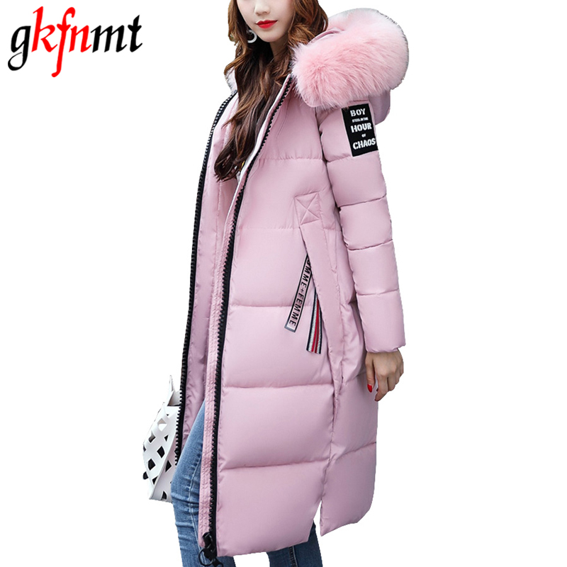 Gkfnmt Winter Jacket Women 2017 Large Fur Collar Hooded Cotton Padded Long Coat Women Parka Thicken Warm Jacket Female Plus size 2017 new winter jacket women parka large fur collar hooded thicken coat slim medium long cotton padded big pocket warm parkas