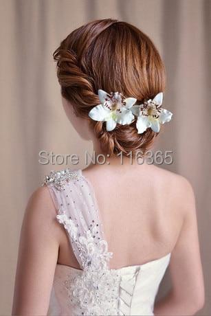 12pcs Lot Artificial Thai Orchid Bridal Hair Flower Girl