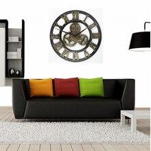4aeb1f5db ساعة حائط الرجعية ريفي الزخرفية الفاخرة 3D ساعة الفن كبيرة والعتاد خشبية  خمر كبيرة ساعة حائط