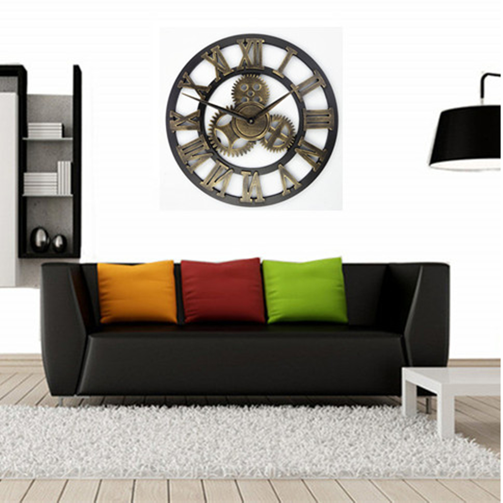 Wall clock  retro rustic decorative luxury 3D clock art big gear wooden vintage large wall clock on the wall Handmade 30-50cm