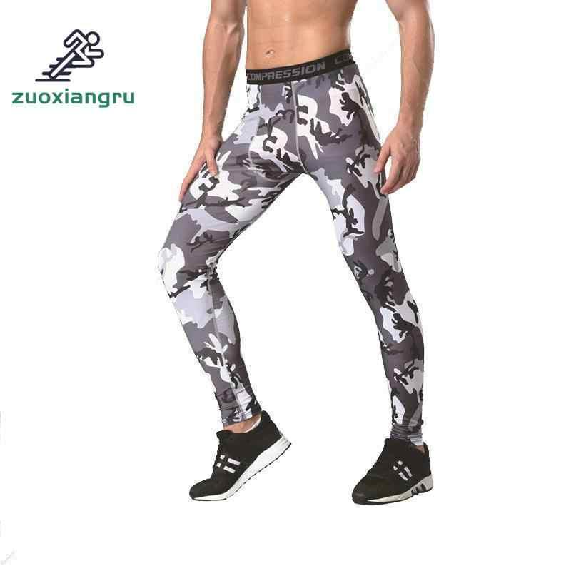 Новые мужские камуфляжные компрессионные колготки леггинсы для бега занятий спортом спортзала мужские брюки капри фитнес брюки быстросохнущие