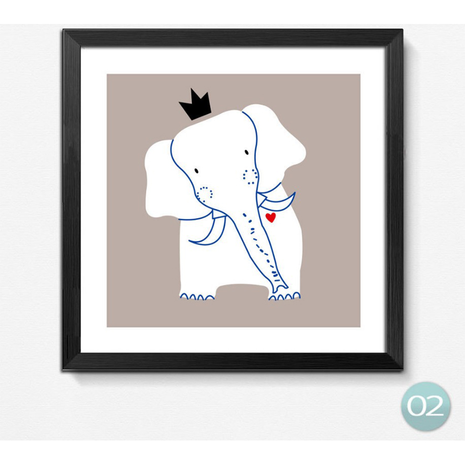 king forest square animals giraffe elephant art prints poster