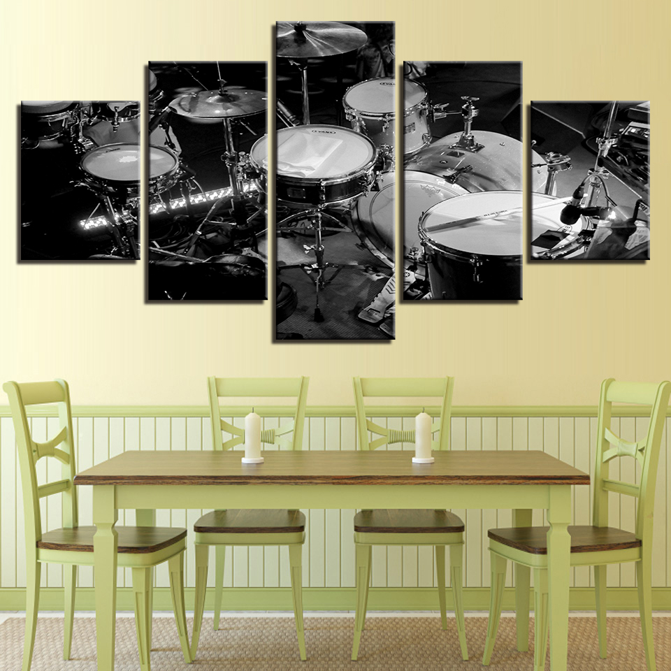 Canvas Wall Art Modular Pictures HD Prints 5 Pieces Music Instrument ...