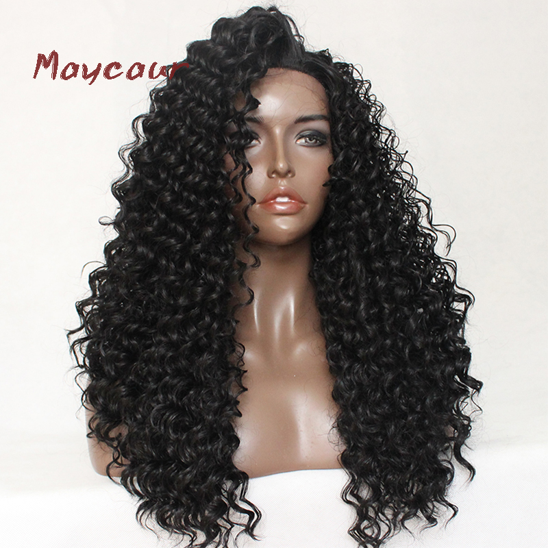 Maycaur 180 Density Synthetic Lace Front Wig Kinky Curly Soft Hair Fiber Hair Replacement Wigs ...
