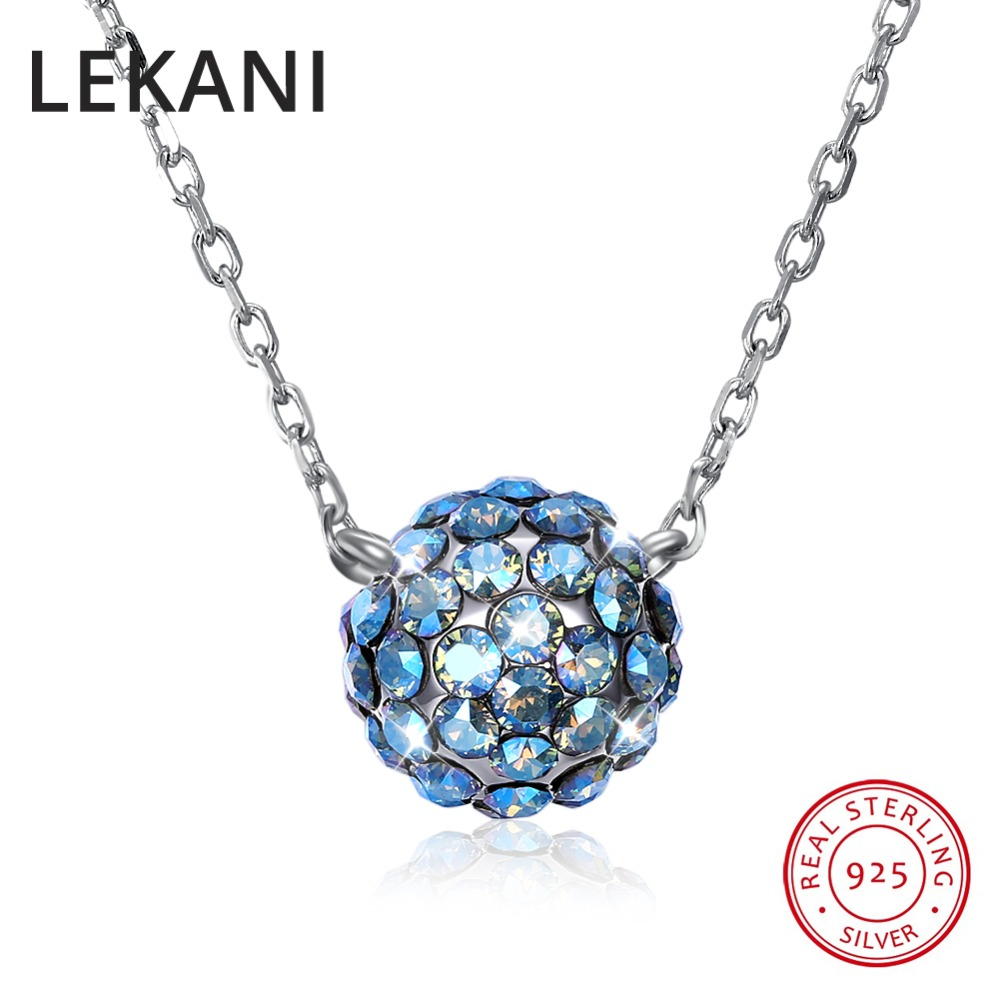 LEKANI Colorful Ball Pendant Necklaces Crystals From Swarovski 925 Sterling Silver Beads Collars Fine Jewelry For Women Girls wholesale sale genuine 925 sterling silver feather necklace fine jewelry crystals from swarovski 925 jewelry beads