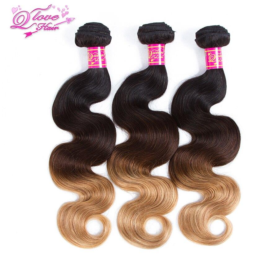 Queen Love Hair Ombre Brazilian Hair Weave Bundles Body Wave 1B/4/27 Human Hair 3 Bundles Non-Remy Human Hair Extensions