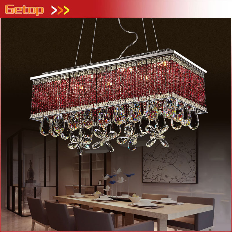 ZX Modern Rectangular Restaurant Chandelier LED Crystal Pendant Lamps Individuality Creative Living Room Bedroom Indoor Lighting колье element47 by jv xh514264hx4419
