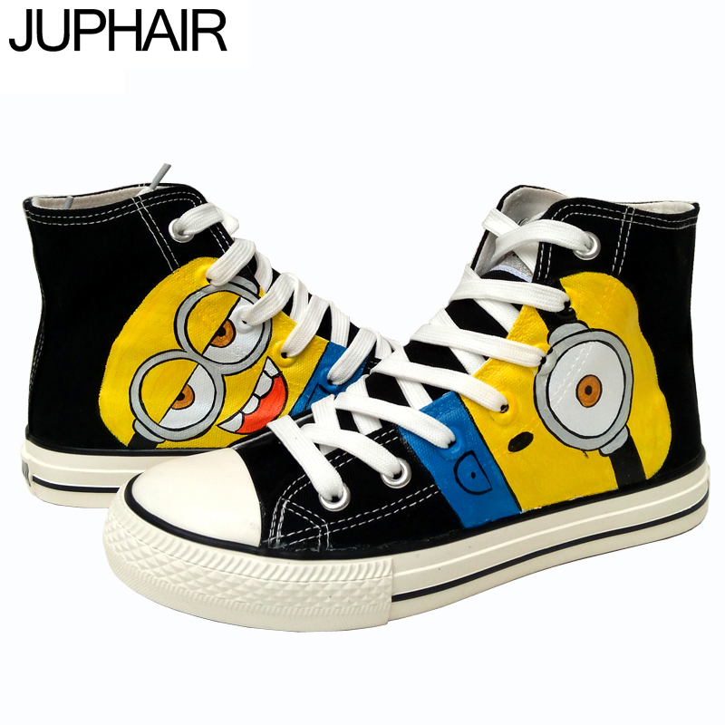ФОТО JUP Shoes Men Female Boy Custom Despicable Me Minions Style Girls Canvas Espadrilles Top High Shoes Handpainted Cow Muscle Femme