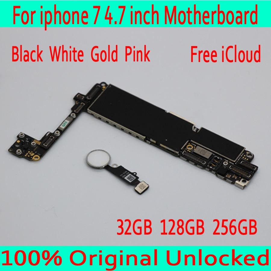 С сенсорным ID Белое золото черный розовый для iphone 7 материнская плата с системой OS, оригинальный разблокирован для iphone 7 материнская плата, х...