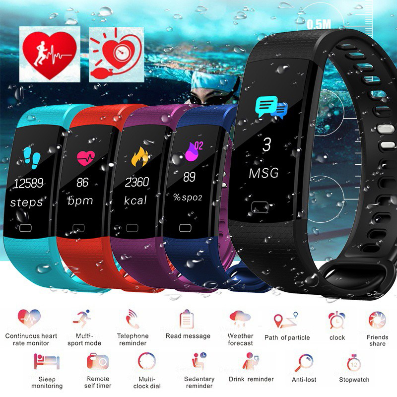 Intelligent bluetooth Smartband Bracelet Y5 Color Screen of Blood Pressure Measurement Tracker Pedometer Fitness Smart Watch