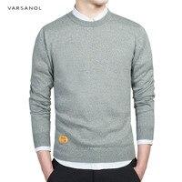 Varsanol мужской s хлопковый свитер пуловеры мужские с круглым вырезом свитера джемпер осень тонкий мужской однотонный трикотажная одежда серы...