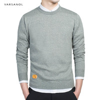 Varsanol Cotton Sweater Men Long Sleeve Pullovers Outwear Man O Neck Tops Loose Solid Fit Knitting