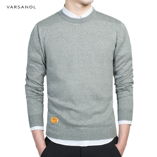 Men Cotton Sweater Pullovers Men O-Neck Sweaters Jumper Autumn Thin male Solid Knitting Clothing M-XXXL New