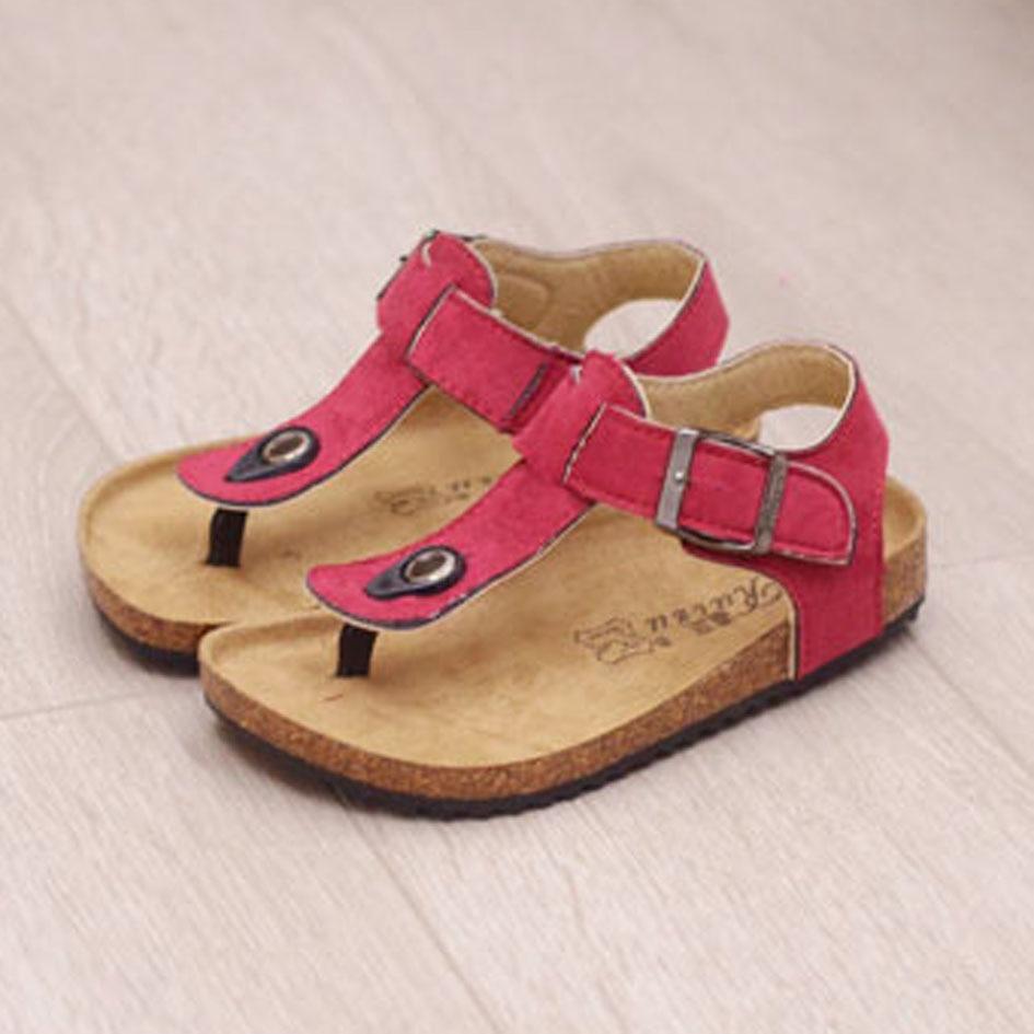 2017 Vintage Kids Cork Clogs Unisex Kids Girls Summer Mules Slip on Cork Kids Girls Sandals Summer Boys Beach Shoes Flip Flops