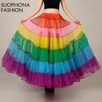 Fashion Mutil-color Dancewear Colorful Women Tulle Long Skirt Petticoat Party Costume Pettiskirt Tulle Petticoats 2017 crinoline