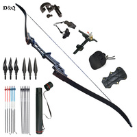 30 60lbs Archery Recurve Take Down Bow Set with Carbon Fiberglass Arrows & Accessories for Outdoor Hunting Shooting Practice