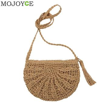 ... Bohemian Woven Tassel Hollow Out Beach Bag Women Crochet Fringed Straw  Clutch Handmade Day Clutches Knitting f27931faf01a
